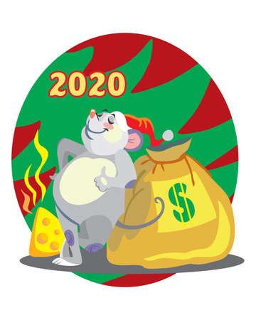 Vector illustration of cute mouse character with bag of money on background with Christmas tree. Vector cartoon stock illustration.Winter holiday, Christmas eve concept. For prints, banners, stickers,