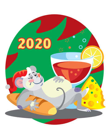 Vector illustration of cute overeat mouse character with glass of wine on background with Christmas tree. Vector cartoon stock illustration.Winter holiday, Christmas eve concept. For prints, banners, stickers, cards