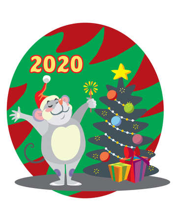 Vector illustration of cute happy mouse character with Christmas tree. Vector cartoon stock illustration.Winter holiday, Christmas eve concept. For prints, banners, stickers, cards