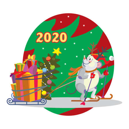 Vector illustration of cute mouse character with sledge, gifts and Christmas tree. Vector cartoon stock illustration.Winter holiday, Christmas eve concept. For prints, banners, stickers, cards