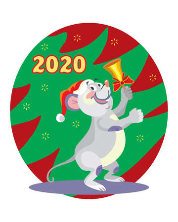 Vector illustration of cute mouse character ringing the bell on background with Christmas tree. Vector cartoon stock illustration.Winter holiday, Christmas eve concept. For prints, banners, stickers,   イラスト・ベクター素材