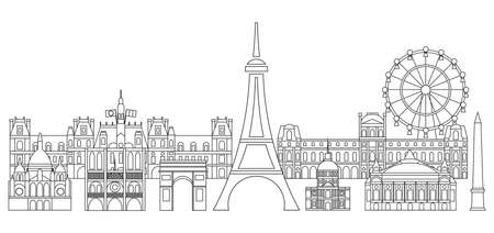 Panoramic line art style Paris City Skyline vector Illustration in black color isolated on white background. Vector silhouette Illustration of landmarks of Paris,France. Paris vector icon. Paris building outline. Banque d'images - 134432390