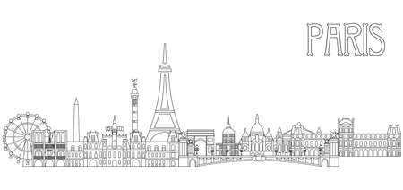 Panoramic line art style Paris City Skyline vector Illustration in black color isolated on white background. Vector silhouette Illustration of landmarks of Paris,France. Paris vector icon. Paris building outline.