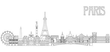 Panoramische Linie Kunststil Paris City Skyline Vektor Illustration in schwarzer Farbe isoliert auf weißem Hintergrund. Vektorsilhouette Illustration von Wahrzeichen von Paris, Frankreich. Paris-Vektor-Symbol. Pariser Gebäudeumriss.