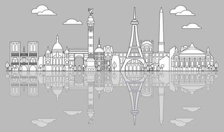 Panoramic line art style Paris City Skyline with reflection. Vector illustration in black color isolated on white background. Vector illustration of landmarks of Paris,France. Paris vector icon. Paris building outline. Banque d'images - 134432431