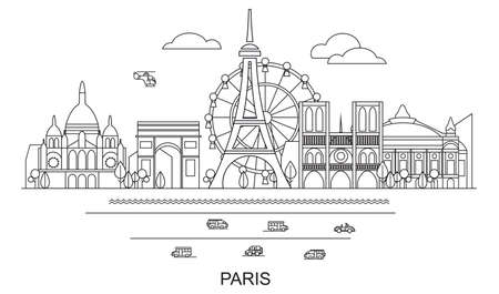 Panoramic line art style Paris City Skyline vector Illustration in black color isolated on white background. Vector silhouette Illustration of landmarks of Paris,France. Paris vector icon. Paris building outline. Banque d'images - 134432439
