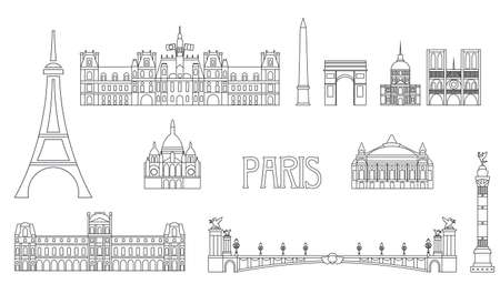 Vector set of main landmarks of Paris. Vector Illustration in line art style in black color isolated on white background. Paris vector icon. Paris building outline.  イラスト・ベクター素材