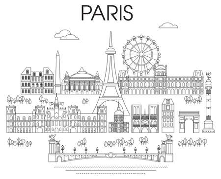 Panoramic line art style Paris City Skyline vector Illustration in black color isolated on white background. Vector silhouette Illustration of landmarks of Paris,France. Paris vector icon. Paris build