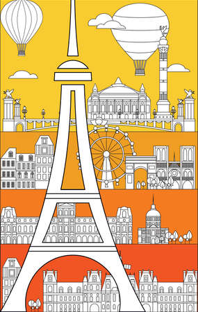Poster with landmarks of Paris, vertical vector monochrome illustration in line art style on bright background. Vector silhouette Illustration of landmarks of Paris, France. Paris vector icon. Paris b