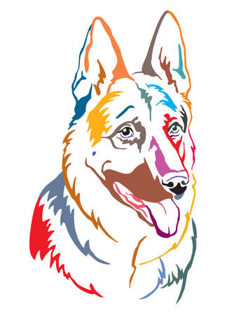 Colorful decorative contour outline portrait of Dog German Shepherd looking in profile, vector illustration in different colors isolated on white background. Image for design and tattoo.