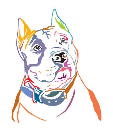 Colorful decorative contour outline portrait of Dog American Staffordshire Terrier, vector illustration in black color isolated on white background. Image for design and tattoo.