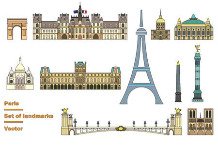 Vector set of main landmarks of Paris. Vector colorful Illustration in line art style in black color isolated on white background. Paris vector icon. Paris building outline.