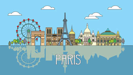 Panoramic line art style Paris City Skyline with reflection. Colorful isolated vector illustration. Vector silhouette Illustration of landmarks of Paris,France. Paris vector icon. 일러스트