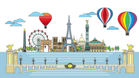Panoramic line art style Paris City Skyline. Colorful isolated vector illustration. Vector silhouette Illustration of landmarks of Paris,France. Paris vector icon.