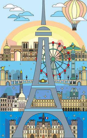 Poster with Paris Skyline line art style. Colorful isolated vector illustration. Vector silhouette Illustration of landmarks of Paris,France. Paris vector icon.