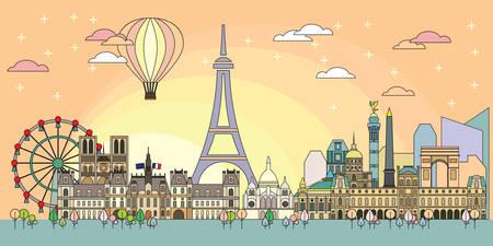 Panoramic line art style Paris City Skyline by sunrise. Colorful vector illustration. Vector silhouette Illustration of landmarks of Paris, France. Paris vector icon. 일러스트
