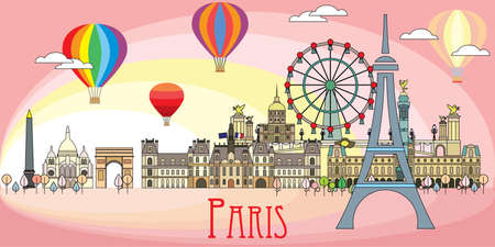 Panoramic line art style Paris City Skyline by sunrise. Romantic colorful vector illustration on pink background. Vector silhouette Illustration of landmarks of Paris, France. Paris vector icon.