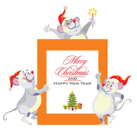 Vector illustration of cute mouse charactes congratulate with Merry Christmas. Christmas greeting card. Cartoon stock illustration.Christmas eve concept. For prints, banners, stickers, cards