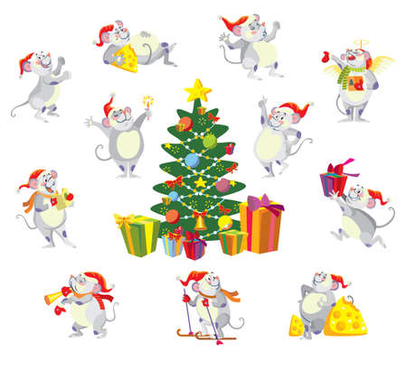 Vector isolated illustration of cute mouse character in different situations: sing, dance, run, overeat.Christmas tree.Cartoon stock illustration.Christmas eve concept. For prints, banners, stickers,