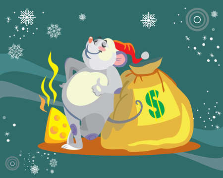 Vector illustration of cute mouse character with bag of money on turquoise background. Vector cartoon stock illustration.Winter holiday, Christmas eve concept. For prints, banners, stickers, cards 일러스트