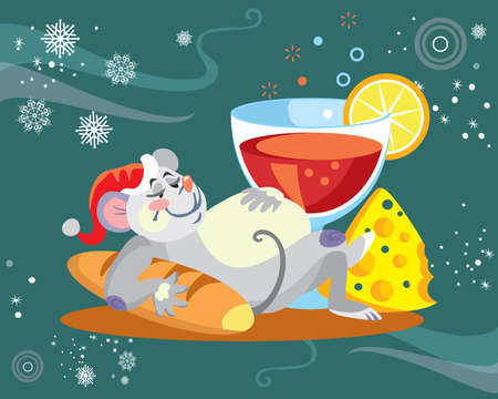 Vector illustration of cute overeat mouse character with glass of wine on turquoise background. Vector cartoon stock illustration.Winter holiday, Christmas eve concept. For prints, banners, stickers,