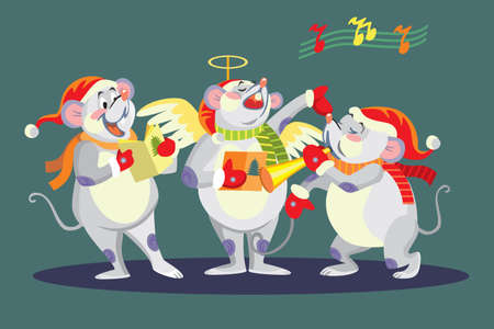 Vector illustration of cute mouse characters singing Christmas song. Vector cartoon stock illustration.Winter holiday, Christmas eve concept. For prints, banners, stickers, cards 일러스트