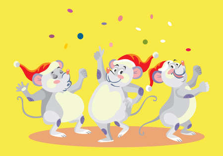 Vector illustration of three cute dancing mouse characters. Vector cartoon stock illustration.Winter holiday, Christmas eve concept. For prints, banners, stickers, cards