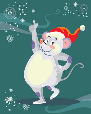 Vector illustration of cute dancing mouse character on turquoise background. Vector cartoon stock illustration.Winter holiday, Christmas eve concept. For prints, banners, stickers, cards 일러스트