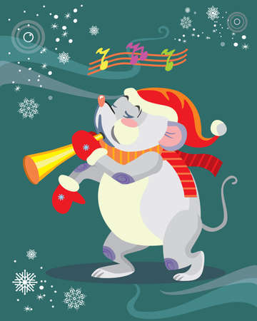 Vector illustration of cute mouse character playing the horn on turquoise background. Vector cartoon stock illustration.Winter holiday, Christmas eve concept. For prints, banners, stickers, cards