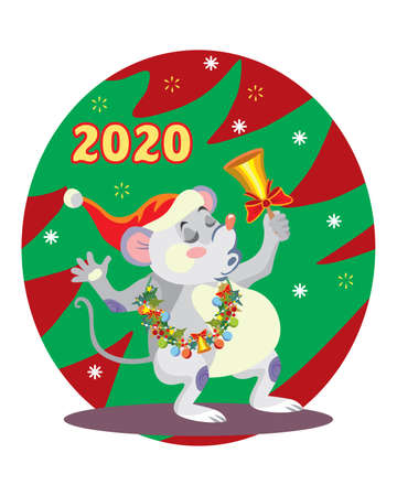 Vector illustration of cute mouse character ringing the bell on background with Christmas tree. Vector cartoon stock illustration.Winter holiday, Christmas eve concept. For prints, banners, stickers,  일러스트
