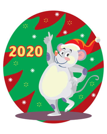 Vector illustration of cute dancing mouse character on background with Christmas tree. Vector cartoon stock illustration.Winter holiday, Christmas eve concept. For prints, banners, stickers, cards