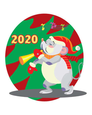 Vector illustration of cute mouse character playing the horn on background with Christmas tree. Vector cartoon stock illustration.Winter holiday, Christmas eve concept. For prints, banners, stickers,