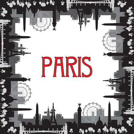 Monochrome Paris skyline silhouette vector square closed illustration in black and grey colors isolated on white background. Square closed vector illustration of landmarks of Paris, France.