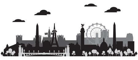 Panoramic monochrome Paris City Skyline silhouette vector Illustration in black and grey colors isolated on white background. Vector silhouette Illustration of landmarks of Paris, France.