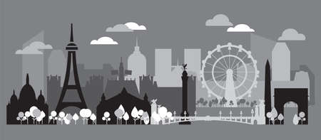 Panoramic monochrome Paris City Skyline silhouette vector Illustration in black, white and grey colors isolated on grey background. Vector silhouette Illustration of landmarks of Paris, France. 向量圖像