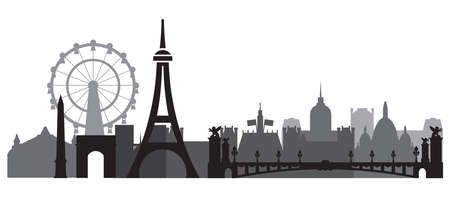 Monochrome Paris City Skyline silhouette vector Illustration in black and grey colors isolated on white background. Panoramic vector silhouette Illustration of landmarks of Paris, France.