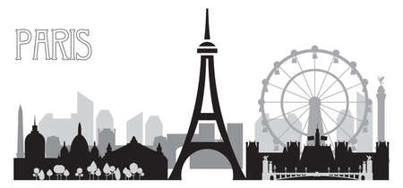 Monochrome Paris skyline silhouette vector illustration in black and grey colors isolated on white background. Panoramic vector illustration of landmarks of Paris, France.