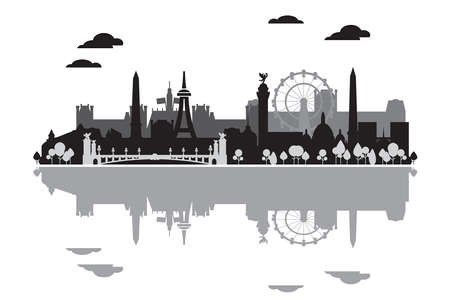 Monochrome Paris skyline silhouette with reflection in water. Vector illustration in black and grey colors isolated on white background. Panoramic vector illustration of landmarks of Paris, France. 向量圖像