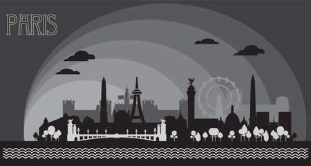Panoramic monochrome Paris City Skyline silhouette vector Illustration in black and grey colors isolated on grey background. Vector silhouette Illustration of landmarks of Paris, France. 向量圖像