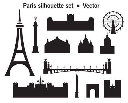 Vector set of silhouette Paris landmarks. Vector Illustration in black color isolated on white background. Vector silhouette Illustration of main landmarks of Paris, France.