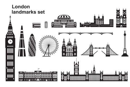 Vector conjunto de hitos de Londres. Ilustración de vector de horizonte de la ciudad en colores blanco y negro aislado sobre fondo blanco. Conjunto de silueta vectorial Ilustración de monumentos de Londres, Inglaterra.