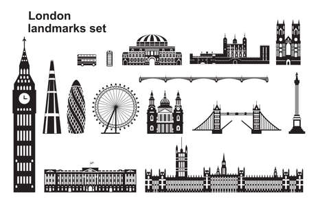 Vector set of  landmarks of London. City Skyline vector Illustration in black and white colors isolated on white background. Set of vector silhouette Illustration of landmarks of London, England.