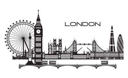 Vector illustration of main landmarks of London. City Skyline vector illustration in black and white colors isolated on white background. Set of vector silhouette illustration of landmarks of London, England.
