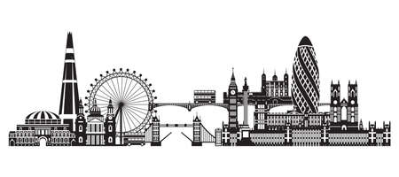 Vector illustration of main landmarks of London. City Skyline vector illustration in black color isolated on white background. Panoramic silhouette illustration of landmarks of London, England.