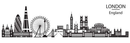 Vector illustration of main landmarks of London. City Skyline vector illustration in black color isolated on white background. Panoramic monochrome silhouette illustration of landmarks of London, Engl