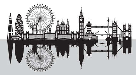 Vector illustration of main landmarks of London with reflection. City Skyline vector illustration isolated on white background. Panoramic monochrome silhouette illustration of landmarks of London, Eng