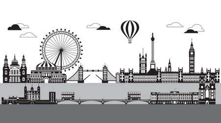 Vector illustration of main landmarks of London. City Skyline vector illustration isolated on white background. Panoramic monochrome silhouette illustration of landmarks of London, England.  Ilustração