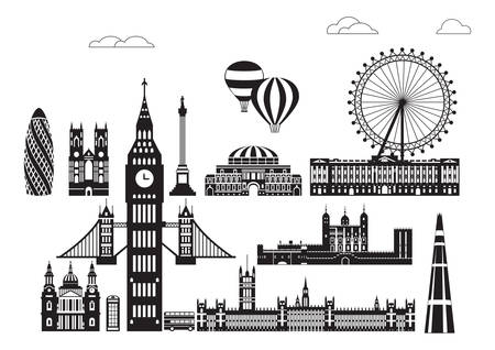 Vector set of  landmarks of London. City Skyline vector Illustration in black and white colors isolated on white background. Vector silhouette Illustration of landmarks of London, England. 向量圖像