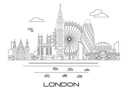 Vector line art illustration of landmarks of London, England. London city skyline vector illustration in black and white colors isolated on white background. London vector icon. London building outlin