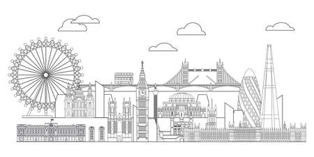 Panoramic vector line art illustration of landmarks of London, England. London city skyline vector monochrome illustration isolated on white background. London vector icon. London building outline.